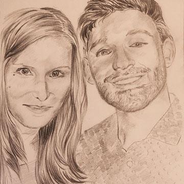 """""""Julia und Daniel"""" Zeichenkohle auf Karton 29,7 x 21 cm"""