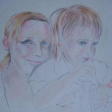 Frau mit Kind, Pastell und Rötel, 42 x 29,7 cm