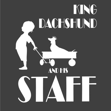 King dachshund and his staff shorthaired
