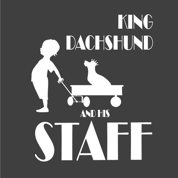 King dachshund and his staff wirehaired