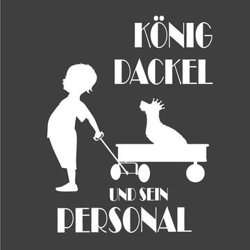 König Dackel und sein Personal Rauhaardackel