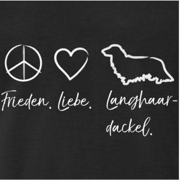 Frieden Liebe Langhaardackel