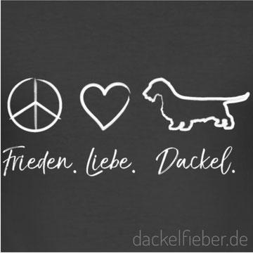 Motiv Frieden. Liebe. Dackel
