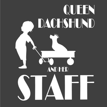 Queen dachshund and her staff wirehaierd