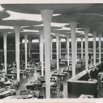 refG228 -  18x23cm  - intérieur du Johnson wax building, architecte Frank Lloyd WRIGHT - presse: tampons et tapuscrit - argentique - 1939 -  5/5