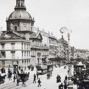 Vista de las Calatravas cuando su cúpula dominaba las alturas de la calle de Alcalá