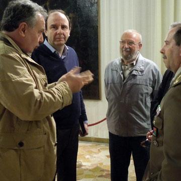 Il regista Mauro Vittorio Quattrina con il Colonnello Di Domenica e il Presidente Paolo Bonente dell'Associazione Modellismo Storico Verona A.M.S. di Verona