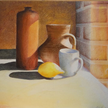 Stilleben  mit Tisch Aquarell Pastell Buntstift 6.13  40x30