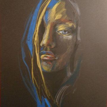 Portrait / Din A3 /  Pastell auf Black Papier