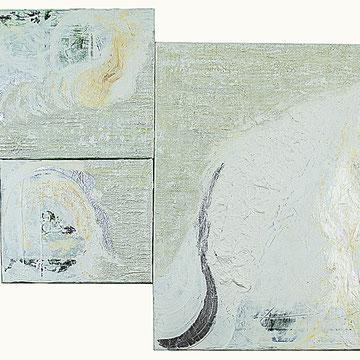 (1) Wege, Gesamtformat 90 x 67 cm, Acryl, Sand, Seidenpapier, Blatt-Aluminium auf Leinen
