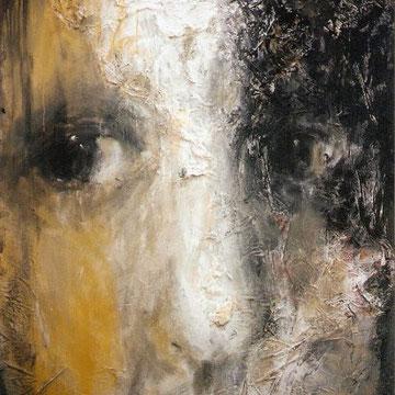 Portrait Woman in black 130x97cm tec. mixt sobre tela 2000