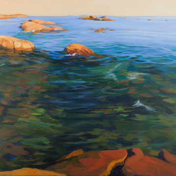 Atardecer desde el agua. San Vicente do Mar. Galicia. 146x80cm. Acrílico sobre lienzo.