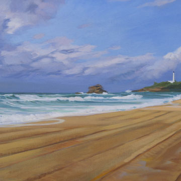 Mañana tormentosa en Biarritz. Acrílico sobre lienzo. 100 x 50 cm.