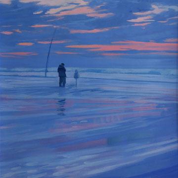 Fishing at dusk. Santander.39x49cm. Acrylic on paper.