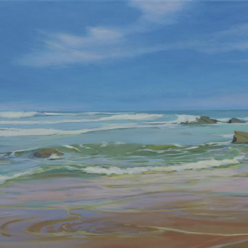 Amanecer en la playa de Liencres. Acrílico sobre lienzo. 100 x 50 cm.