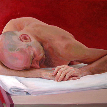 Javier on red background. 70 x 100 cm. Oil on canvas.