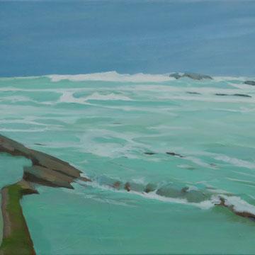 Aguas turbulentas en Biarritz. Acrílico sobre lienzo.  100 x 50 cm.
