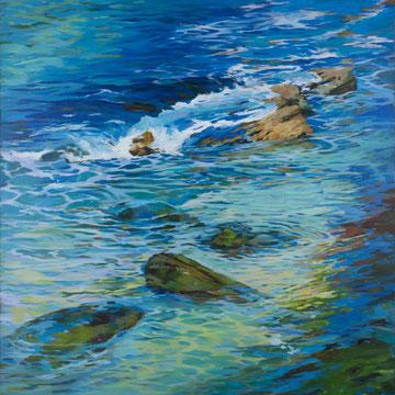 Remolinos en el Sardinero. 100x100cm. Acrílico sobre lienzo.
