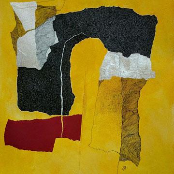 """"""" Sans titre. Série -"""" NOUVEAU SOUFFLE """" Acrylique, pointe fine et collage sur papier. Format : 46 x 61 cm."""