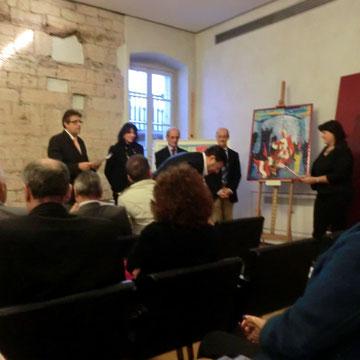 2° Premio  Art Immagine Feste Vigiliane 25 Ottobre 2012 presso Hotel Trento - Trento  -cerimonia di consegna agli Enti - lettura della motivazione del premio  da parte della Dott.ssa Nicoletta Tamanini