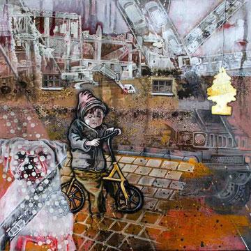 """""""Menschwerdung 1"""" Acryl auf Holz (62x62) 2015"""