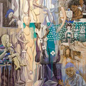 """""""Menschwerdung 4"""" Acryl auf Holz (110x81) 2015"""