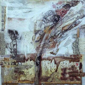 """Lebensfluß 2"" Mischtechnik auf Leinen (60x80) 2004"