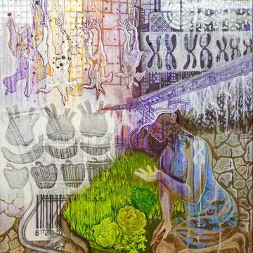 """""""Menschwerdung 2"""" Acryl auf Holz (96x76) 2015"""