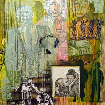 """""""Menschwerdung 3"""" Acryl auf Holz (24x76) 2015"""