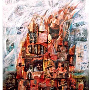 """""""Turm zu Babel 1"""" Mischtechnik auf Leinen 1998"""