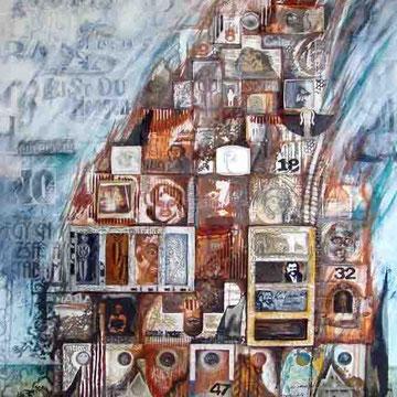 """""""Turm zu Babel 2"""" Mischtechnik auf Leinen (148x83) 2008"""