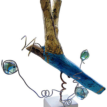 """""""Giovanni"""" acrilico su legno con foglia oro e filo di ferro cm20x16"""