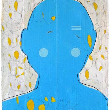 """""""occhi (sguardo)"""" segni di matita e colore acrilico su pezzo di cartone d'imballo cm35x54"""