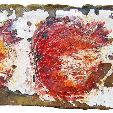"""""""Melograni sull'asse"""" acrilici e tratto a matita grassa su vecchia asse trovata in riva al mare di Jesolo cm14,5x47"""