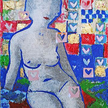 """""""la donna di Antonio"""" acrilico con inserti in carta e segni a matita su tela cm30x45"""