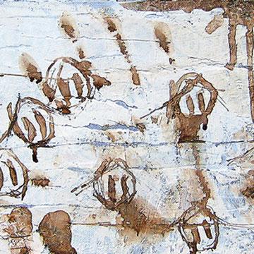 """""""memoria"""" mordente legno e acrilico su gesso acrilico e stucco cm50x20"""