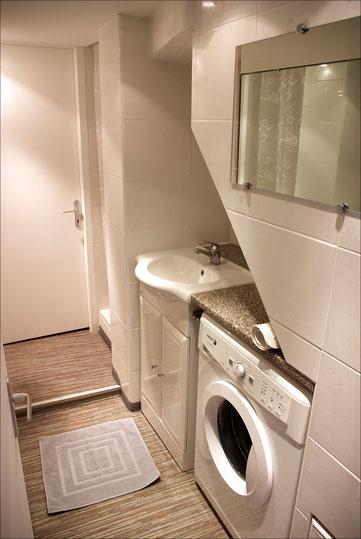 La salle de bain comporte le lave-linge