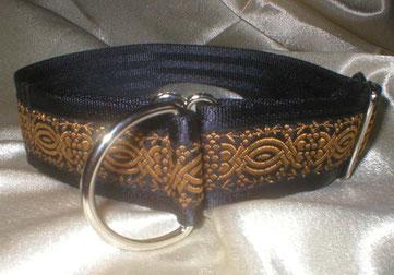 Zugstopp, Halsband, 4cm, Gurtband schwarz, Borte Ornament