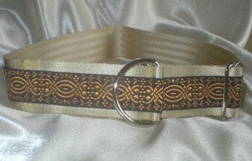 Zugstopp Halsband, 4 cm, Gurtband champagnerfarben, Borte Ornament