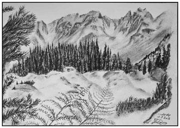 Kohlezeichnung der Stutzalp in Klosters.
