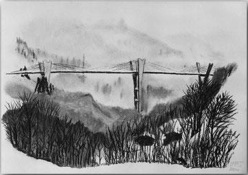 Bild:Sunnibergbrücke,Sunniberg,Brücke,Klosters,Graubünden,Winter,Schnee,Nebel,d-t-b.ch,d-t-b,David Brandenberger,Biber,dave the beaver,Kohlebild,Malerei,Kohle,