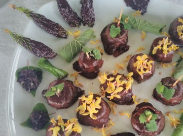 Dessert mit Wildpflanzen