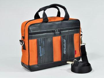 Die speziell von Stef Fauser Design entwickelte Laptoptasche Filinger aus Fahrradschlauch und Rucksackstoff. Foto: Stef Fauser Design