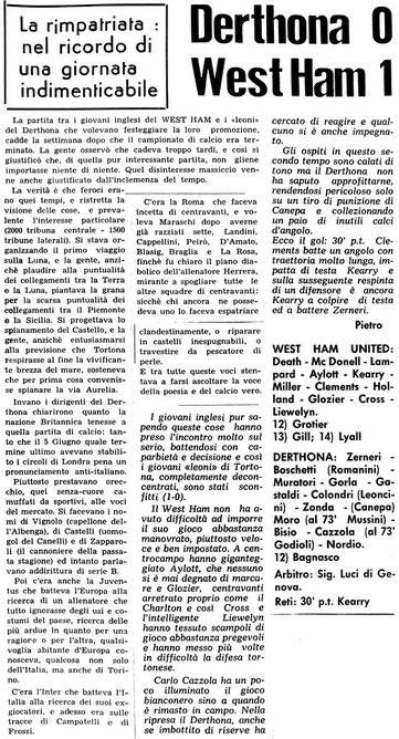 5 GIUGNO 1969 DERTHONA-WEST HAM 0-1