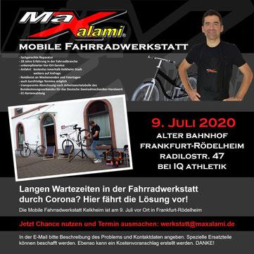 Mobile Fahrradwerkstatt zu Besuch in rankfurt-Rödelheim