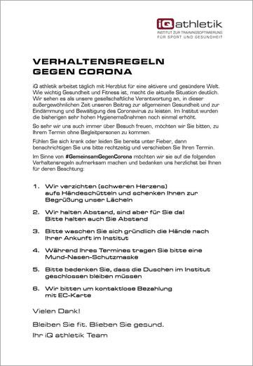 Verhaltensregeln gegen Corona