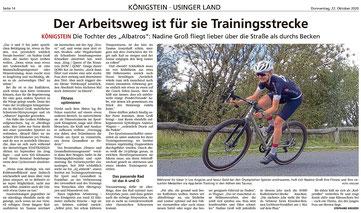 Der Arbeitsweg ist für Nadine Groß Trainingsstrecke. Artikel aus der Taunus Zeitung