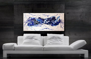 Gemälde, Fluid Art, 120 x 60 cm, Interessante Verläufe in Blau