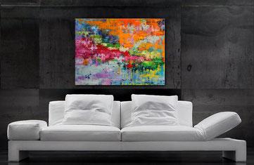 Acrylbilder abstrakt kaufen - Blau, Magenta, Gelb, Grün  150 x 800 cm, Wandbild abstrakt, modern