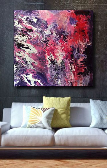 Modernes Acrylgemälde im Fluid-Art style in Purple, Rot, Weiß